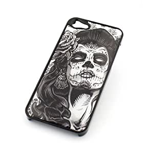 BLACK Snap On Case Case For Iphone 4/4S Cover Plastic Cover - SUCRE CRANIO DONNA day of the dead sugar skull dia de los muertos flower floral