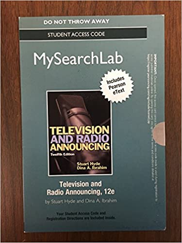 Livres télécharger le format pdf MySearchLab with Pearson eText -- Standalone Access Card -- for Television and Radio Announcing (12th Edition) by Dina A. Ibrahim 0205929648 in French PDF iBook PDB