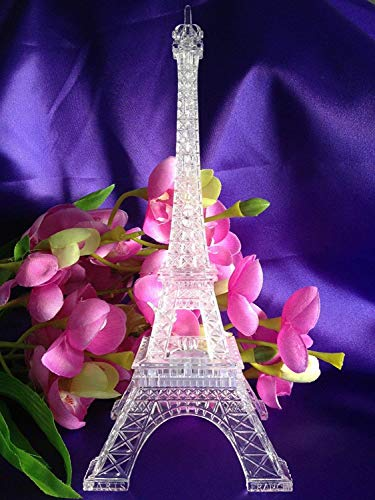 9 Inch Light Up Acrylic LED Eiffel Tower Souvenir w/ Build in Multicolor LED Lights. Battery Included | Centerpiece Decor -