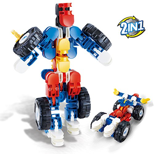 Dinosaur 3D Puzzle Model Kits DIY 3D Car Puzzle Transformers Toy Robot and Racing Car Building Kit 2-in-1 for Boys 47-pcs (Kits Racing 2)