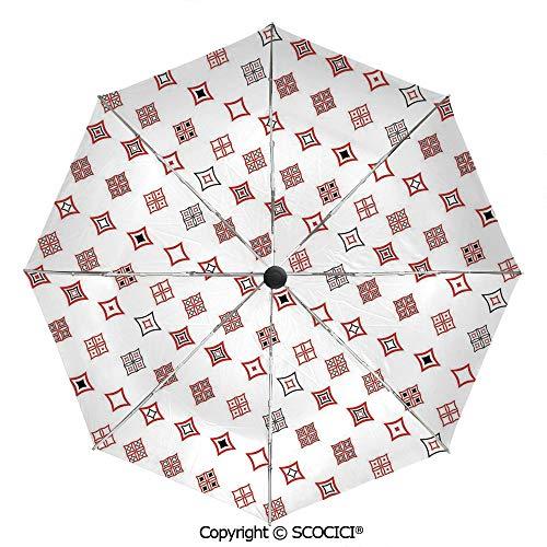 SCOCICI Custom Print Umbrella Compact Rain & Wind Umbrellas,Diamond Shaped Geometric Figure with Inner Artful Forms Symbolic Architecture Icon Decorative,UV Protection Windproof Straight Umbrella