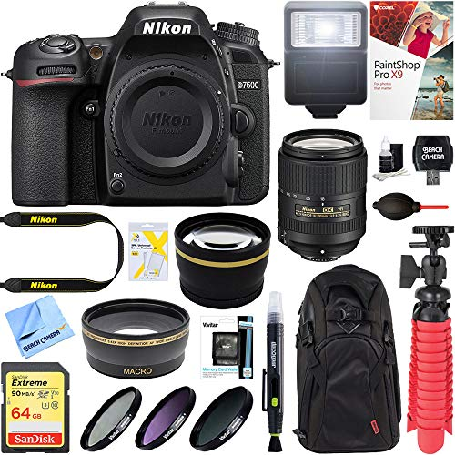 Nikon D7500 20.9MP DX-Format Digital SLR Camera with AF-S 18-300mm f/3.5-6.3G ED VR Lens + 64GB Memory & Deluxe Accessory Bundle ()