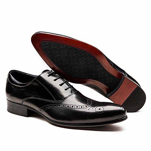 Fulinken Hommes En Cuir Véritable Oxford Chaussures Lacets Jusquà Glisser Sur Les Bottes Chaussures Brogue Robe Formelle Chaussures Noires