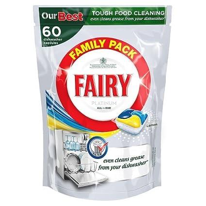 Fairy Platinum todo en uno lavaplatos tabletas Limón (60 ...