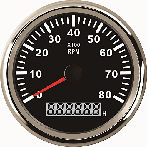 ELING Universal Tachometer RPM REV Counter RPM with Hour Meter 8000RPM 85mm 9-32V with Backlight ()