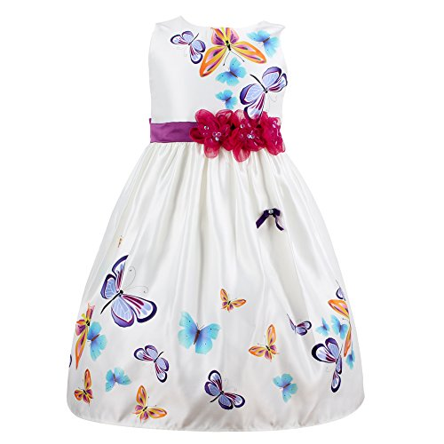 Mingao Little Girls' Embroidery Butterfly Sleeveless Dresses 2 Years