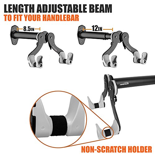 Ibera Horizontal Bicycle Bike Wall Hanger, Bike Hook Holder Storage Rack For Indoor Storage, 45 Degree Adjustable Angle To Keep Your Bike Level by Ibera (Image #3)