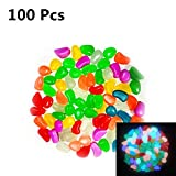 100pcs Glow in the Dark Outdoor Decorative Stones, Garden Pebbles for Walkway, Yard Grass, and Fish Tank Decoration (Multi Color ) Review