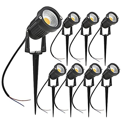 ZUCKEO 5W LED Landscape Lights 12V 24V Garden Lights Waterproof Warm White Walls Trees Flags Outdoor Landscape Spotlights with Stakes (8 Pack) - UPGRADE LANDSCAPE LIGHTING LED LIGHT SOURCE&SUPER BRIGHT: 8 pieces 5W COB LED Light,500 Lumens per one,great for illuminating your Patio,Garden Path Back Yard fences—not only good for security but also decoration with beautiful warm white lights SAFE LANDSCAPE LIGHTING LOW VOLTAGE OUTDOOR USE: 12V-24V working voltage, compatible with most low voltage landscape lighting kits, extra low voltage transformer Required for installation (NOT INCLUDED in this set) TRIPLE WATER RESISTANT: thick aluminum body and glass lens cover design withstand rainy and snowy weather; IP65 waterproof design which greatly improves the stability of outdoor lighting and long-term use - patio, outdoor-lights, outdoor-decor - 51LiUj89SYL. SS400  -