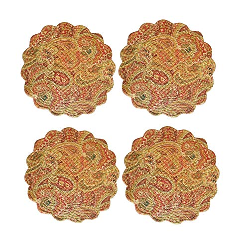 C & F Quilted Products Tangiers Collection Round Quilted Placemat-Set of 4