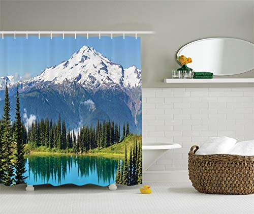 Washington School Student Collection - Ambesonne Cottage Decor Collection, Scenery of Image Lake and Snowy Glacier Peak in Washington USA with Tall Pine Tree Forest, Polyester Fabric Bathroom Shower Curtain, White Blue Green