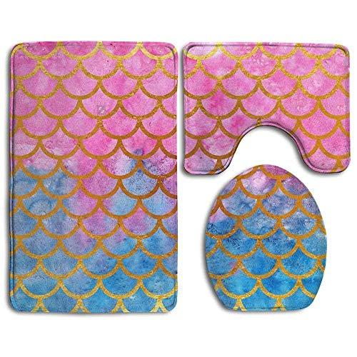 Mermaid Watercolor Gold Pink Fish Scales Family Flannel Non-Slip Bathroom Rug Mats Set 3 Piece Antibacterial