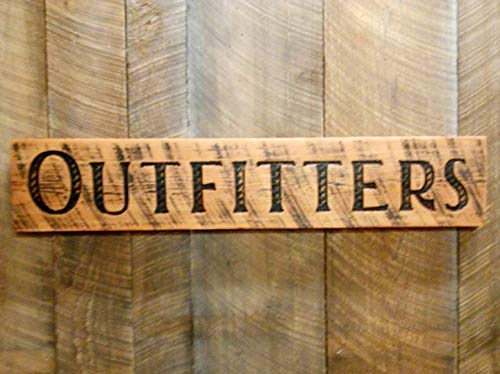 """Large Carved OUTFITTERS Sign 40""""x8"""" Horizontal-Wood Lumber Rustic Distressed Made in USA"""