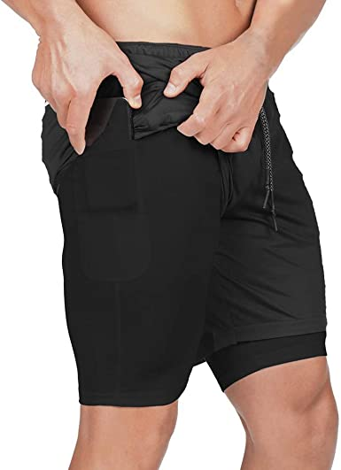 BOOMLEMON Mens 2-in-1 Workout Quick-Dry Shorts Gym Running Training Short Pants with Pockets