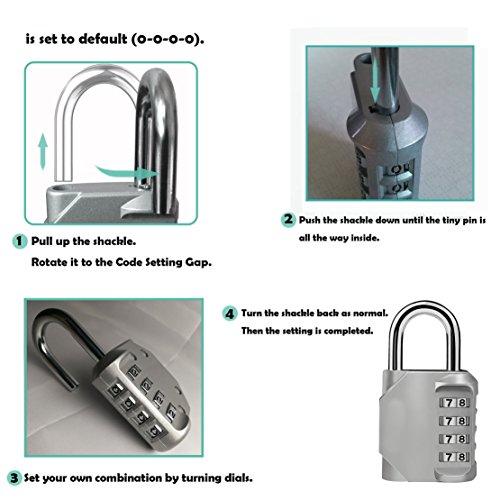 outlet ZHW Combination Lock 4 Digit Anti Rust Padlock Set