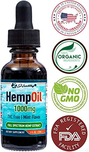 Hemp Oil for Pain & Anxiety Relief - 1000mg Organic Full Spectrum Hemp Extract Drops Tincture - Natural Supplement for Better Sleep, Mood & Stress - Zero THC CBD Cannabidiol