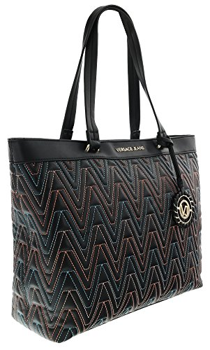 Handles Bag Versace Double - Versace EE1VRBBY4 Black/Multicolor Shopper/Tote for Womens
