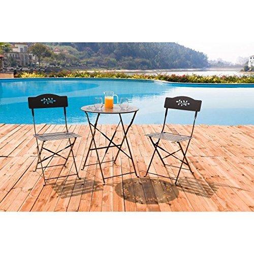 Retro Bistro Tisch + 2Klappstühle aus Stahl–TAUPE