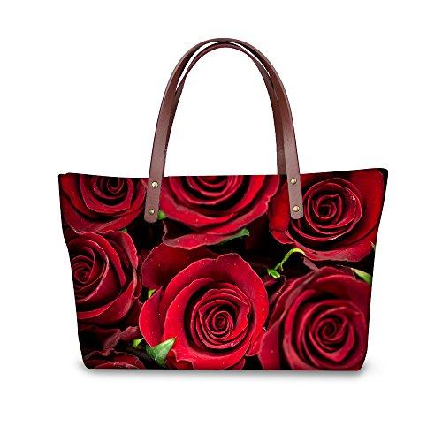 Fashion Print DESIGNS Handbag FOR Women 5 Bags Casual Waterproof Floral rose U Tote Rose Vintage qpgYEAxY