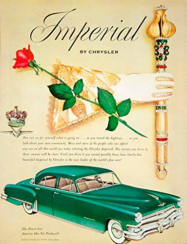 1952 Ad Chrysler Imperial Vehicle Car Automobile Royalty Jewelry Rose YFT9 - Original Print Ad from PeriodPaper LLC-Collectible Original Print Archive