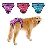 PETBABA Female Dog Diapers, 3 Pcs Period Pants, Reusable Washable Cover Up Panties, Adjustable Nappies Suitable Medium to Large Women Girl in Heat Season in XXL