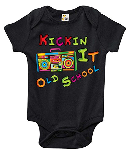 Kickin It Old School Cute Funny Adorable One-piece Bodysuit for Boys and Girls (12-18 Months, Black) by Laughing Giraffe
