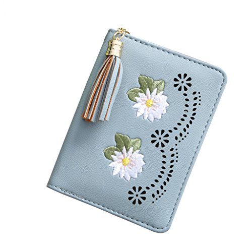 Grey Change Hearsbeauty Wallet Case Card Holder Tassels Flower Retro Blue Grey Cash Portable Credit Money 7wfYAqPA