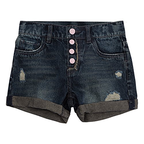Levi's Big Girls' Girlfriend Fit Shorty Shorts, Blue Asphalt, (Levi Relaxed Fit Shorts)
