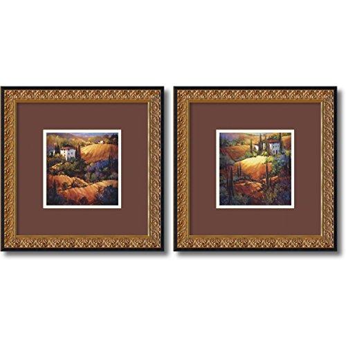 Framed Art Print, 'Tuscany - set of 2' by Nancy O: Outer Size 18 x 18