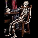 #6: Lywey 2PCS Reality Horror Halloween Party Decoration Poseable Full Size Human Skull Skeleton Anatomical