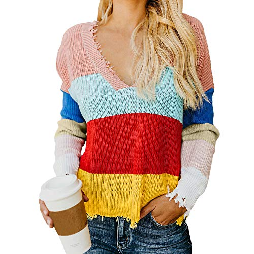 Memela Clearance Sale!!Women's Colorblock Striped Sweater Casual Knitted Loose Long Sleeve Pullover (Multicolor, L) ()