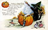 "Vintage Halloween Poster Made From Circa 1910 Postcard Black Cat Pumpkin Cauldren Mice 18""x24"""