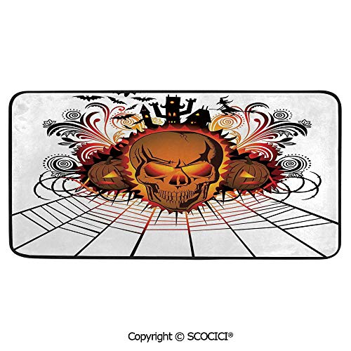 Rectangle Rugs for Bedside Fall Safety, Picnic, Art Project, Play Time, Crafts, Large Protective Mat, Thick Carpet,Halloween Decorations,Angry Skull Face on Bonfire Spirits of Other,39