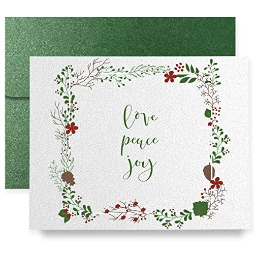 Love Peace Joy Christmas Holiday Greeting Cards Boxed Set of 8 Shimmer Cards & Green Shimmer Envelopes Calligraphy Folded Cards 8-Count Box | Ullman03