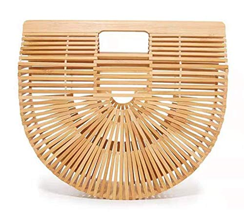 Bamboo Handbag Summer Beach Bag Tote Straw Bag Women Basket Bag