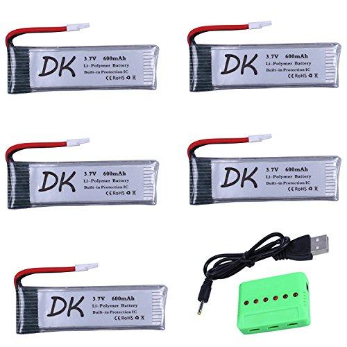 Digital-kingdom 5PCS 3.7v 600mAh 25C LiPo Battery with X6 Charger for U28W JJRC H37 EACHINE E50 Foldable Pocket Selfie Quadcopter Drone by Digital-kingdom