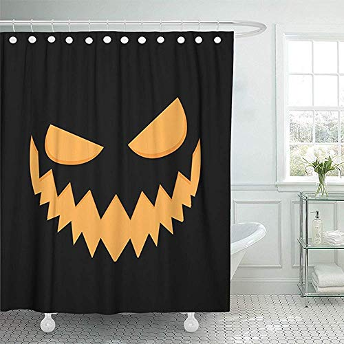 Shower Curtain,Waterproof Mildew Pattern Black Autumn Pumpkin Face On Scary Halloween Orange Candle Carving Celebration Dark Devil Picture Print Polyester Fabric Adjustable Hook 72
