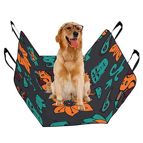 JTMOVING Fashion Oxford Pet Car Seat Rickshaw Hand Drawn Cartoon Cute Waterproof Nonslip Canine Pet Dog Bed Hammock Convertible for Cars Trucks SUV