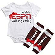 Baby Girls I Watch ESPN with My Daddy Romper Bodysuit and Socks Outfit (6-12M, I watch ESPN with my daddy)