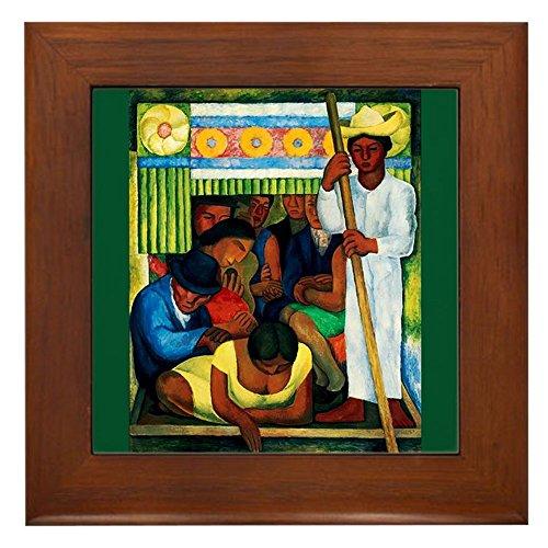 CafePress - Diego Rivera Flower Canoe Art Framed Tile - Framed Tile, Decorative Tile Wall Hanging