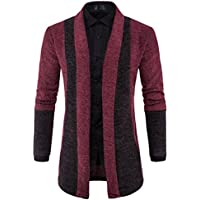 Cardigan,FUNIC Mens Slim Knitted Sweater Fashion Cardigan Long Trench Coat Jacket (M, Wine Red)