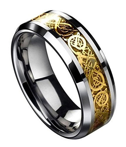 Tanyoyo Dragon Scale Dragon Pattern Beveled Edges Celtic Rings Jewelry Wedding Band for Men Golden (10) (Scale Men)