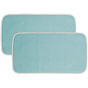 mDesign Ultra Absorbent Reversible Microfiber Dish Drying Mat and Protector for Kitchen Countertops, Sinks: Folds for Compact Storage, Mini - 2 Pack - Aqua ...