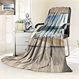 YOYI-HOME Fashion Designs Warm Duplex Printed Blanket Modern Sleek Lounge Area with Large Window and View of Sea Waves Rocks Taupe and Blue Sofa,Air-Conditioner Room /W69 x H47