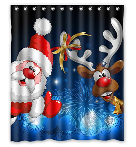ZHANZZK Merry Christmas Santa Claus Deer Pattern Shower Curtain 60x72 Inches -