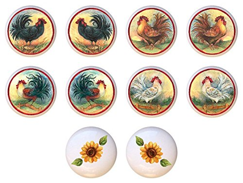 SET OF 10 KNOBS - Roosters and Sunflowers Collection - DECORATIVE Glossy CERAMIC Cupboard Cabinet PULLS Dresser Drawer ()