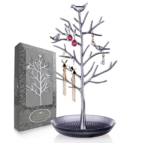 Joy Jewelry Tree | Luxurious Jewelry Stand Display Rack Tower. Size: Tall and Large (6 Inch W x 13 Inch H). Necklace Earring Bracelet Anklets Holder Organizer. Color: Antique Silver (Vase Crystal Dolphins)
