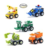 5 Boxes Diamond Block Engineering vehicle Miniature Building Blocks Parent-child Games Children's Educational Toys Dozer, Dump truck, Crane, Excavator, Forklift Etc