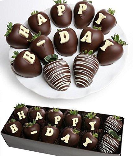 (Happy Birthday Belgian Chocolate Covered Strawberries | 12pc - HAPPY B-DAY Berry-Gram Gift Box. Great gift)