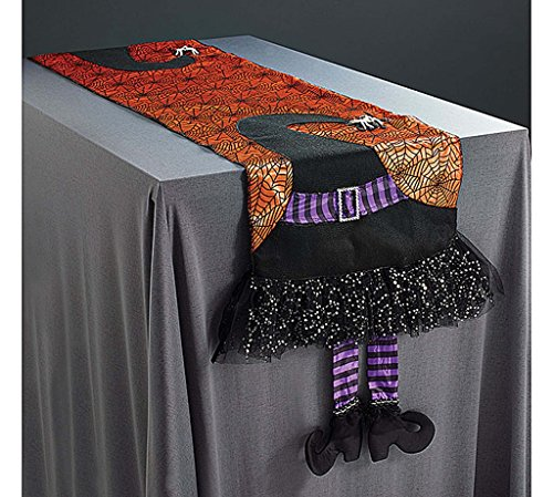 Halloween Spider Web Table Runner With Dangling Legs Witch Hat Decoration (Halloween Legs)